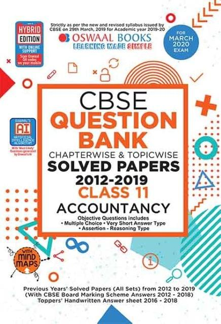 Oswaal CBSE Question Bank Class 11 Accountancy Book Chapterwise & Topicwise Includes Objective Types & MCQ's (For March 2020 Exam)