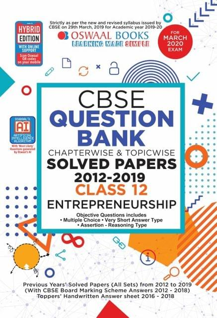 Oswaal CBSE Question Bank Class 12 Entrepreneurship Book Chapterwise & Topicwise (For March 2020 Exam)