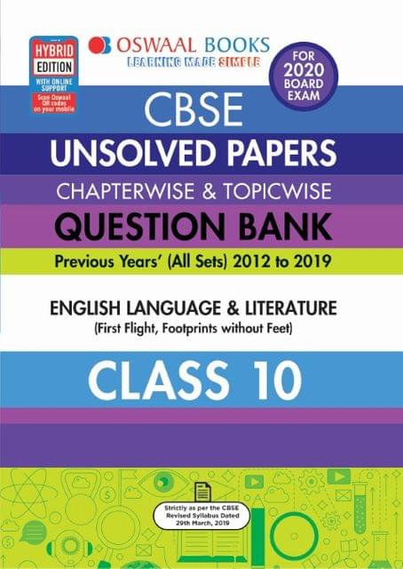 Oswaal CBSE Unsolved Papers Chapterwise & Topicwise Class 10 English Language and Literature Book (For March 2020 Exam)