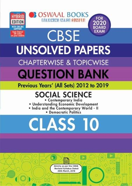 Oswaal CBSE Unsolved Papers Chapterwise & Topicwise Class 10 Social Science Book (For March 2020 Exam)