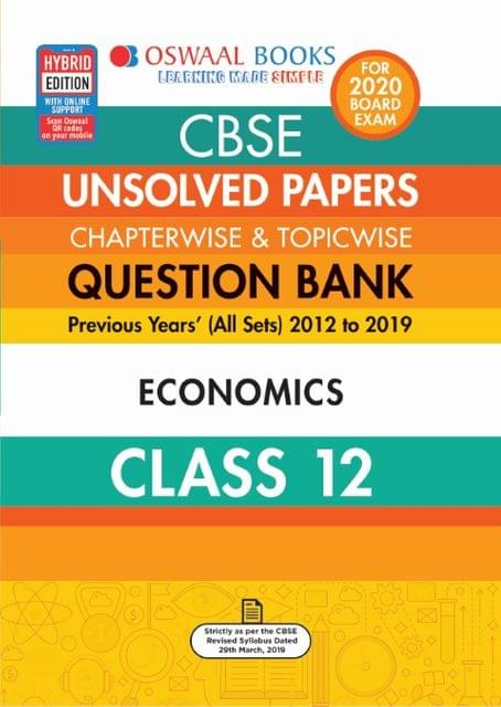 Oswaal CBSE Unsolved Papers Chapterwise & Topicwise Class 12 Economics Book (For March 2020 Exam)