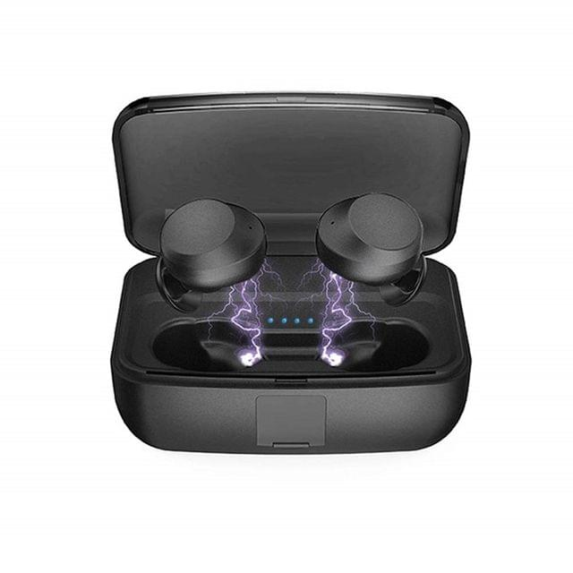 WECOM | Touch Two C3 TWS Bluetooth 5.0 IPX8 Waterproof Black Earbuds 3000 mAh Charging Case | Black