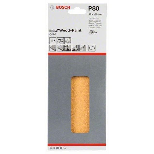 BOSCH | Sanding Sheet Set 93 X 230 mm Grit 80 10PC | BO2608605234