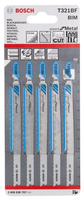 BOSCH |  Jigsaw Blade | Speed For Metal |  2.5-6 mm (Straight) | T321BF | BO2608636707