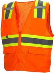 PYRAMEX | Hi-Viz All Mesh Safety Vest with Contrasting Reflective Tape | Orange | RVZ2320