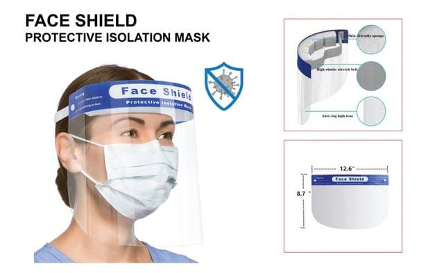 FACE SHIELD  | Full Face Cover - Anti Droplet (10 Pcs  /Pack) | Protective Isolation Mask with Elastic Band & Cushion | MHFS_11