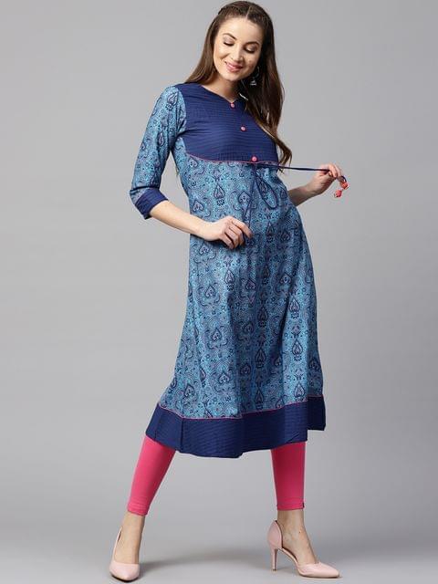 Yufta Women Blue Printed A-Line Kurta