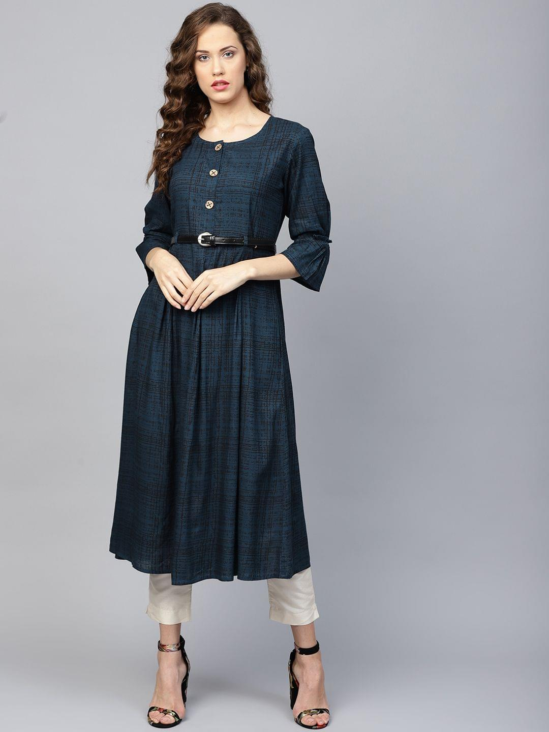 Yufta Women Navy Blue & Black Printed A-Line Kurta