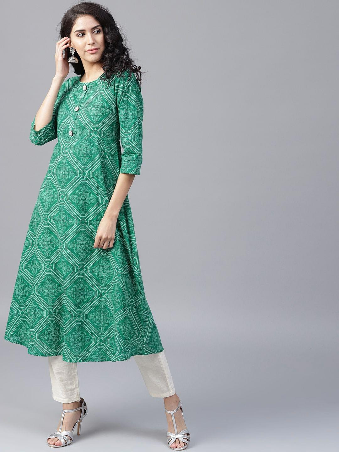 Yufta Women Green  Off-White Printed A-Line Kurta