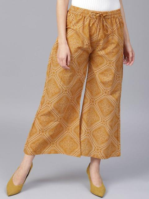 Yufta Women Mustard Yellow  Off-White Printed Wide Leg Cropped Palazzos