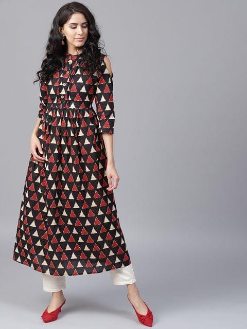 Yufta Women Black  Red Printed Cold Shoulder A-Line Kurta