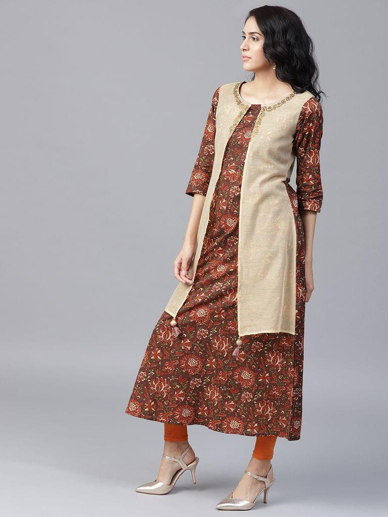 Yufta Women Brown  Beige Printed Layered A-Line Kurta