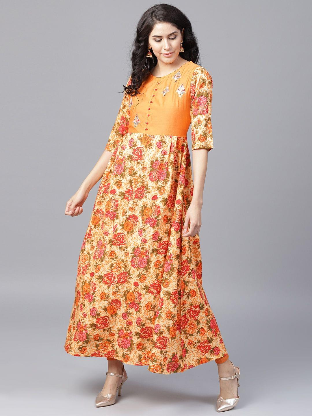 Yufta Women Yellow  Orange Floral Print A-Line Kurta