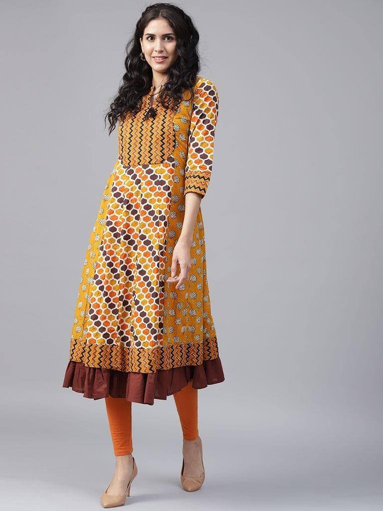 Yufta Women Mustard Yellow  Brown Printed Anarkali Kurta