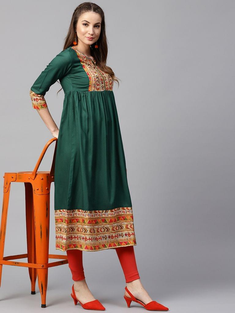 Yufta Women Green & Orange Yoke Design A-Line Kurta
