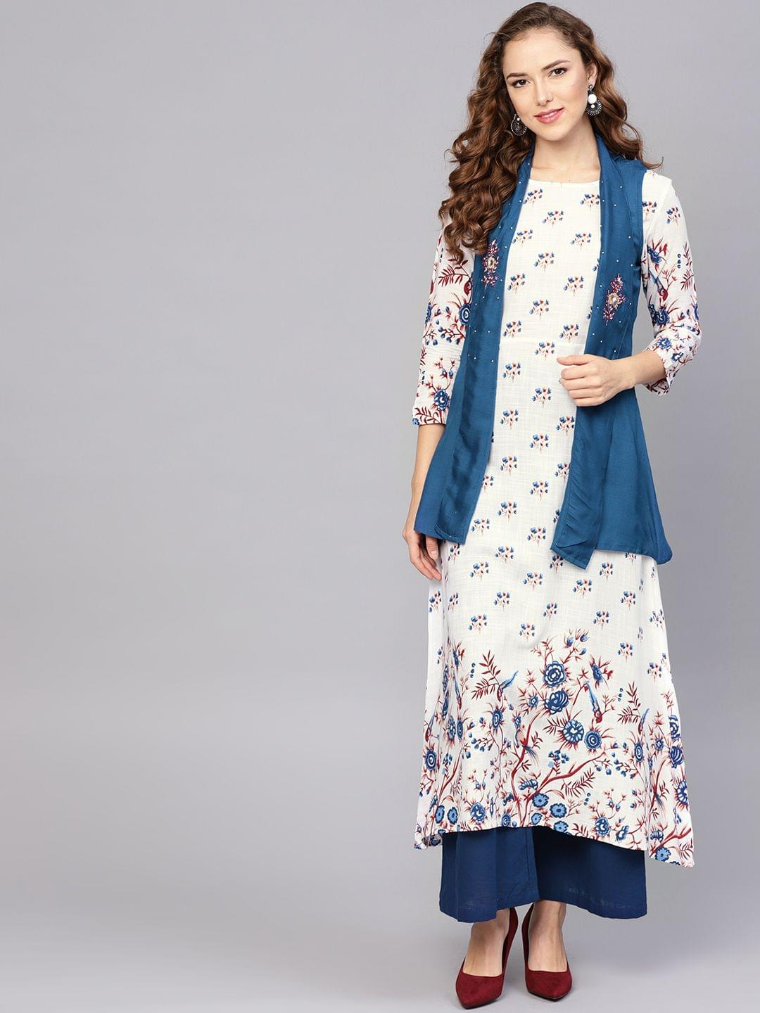 Yufta Women White & Teal Blue Printed A-Line Kurta with Ethnic Jacket