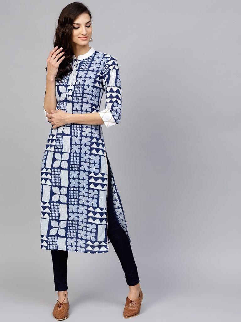 Yufta Women Blue & White Printed Straight Kurta