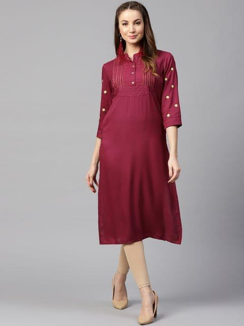 Yufta Women Burgundy Solid Straight Kurta