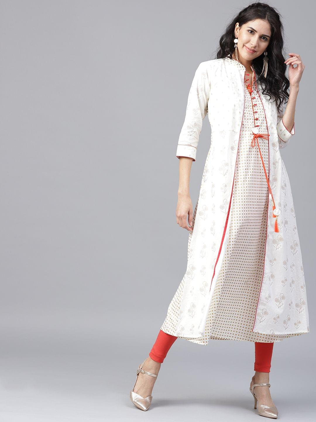 Yufta Women White  Golden Printed Layered A-Line Kurta