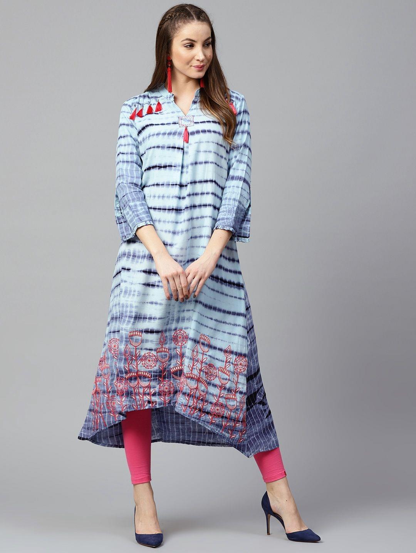 Yufta Women Blue & Pink Printed A-Line Kurta