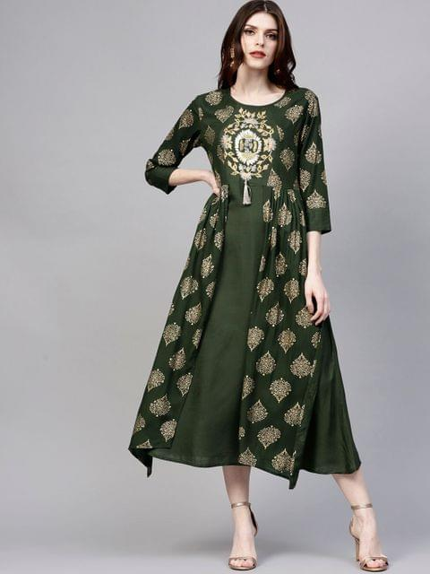 Yufta Women Green Printed Layered Maxi Dress