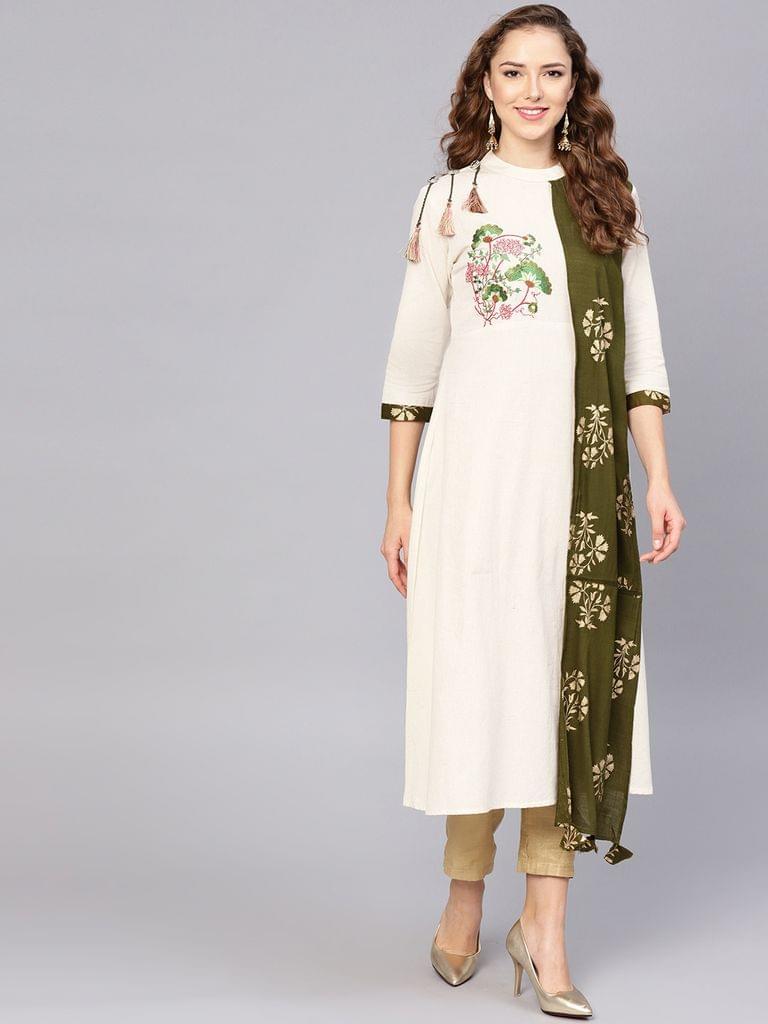 Yufta Women Off-White & Olive Green Yoke Design A-Line Kurta