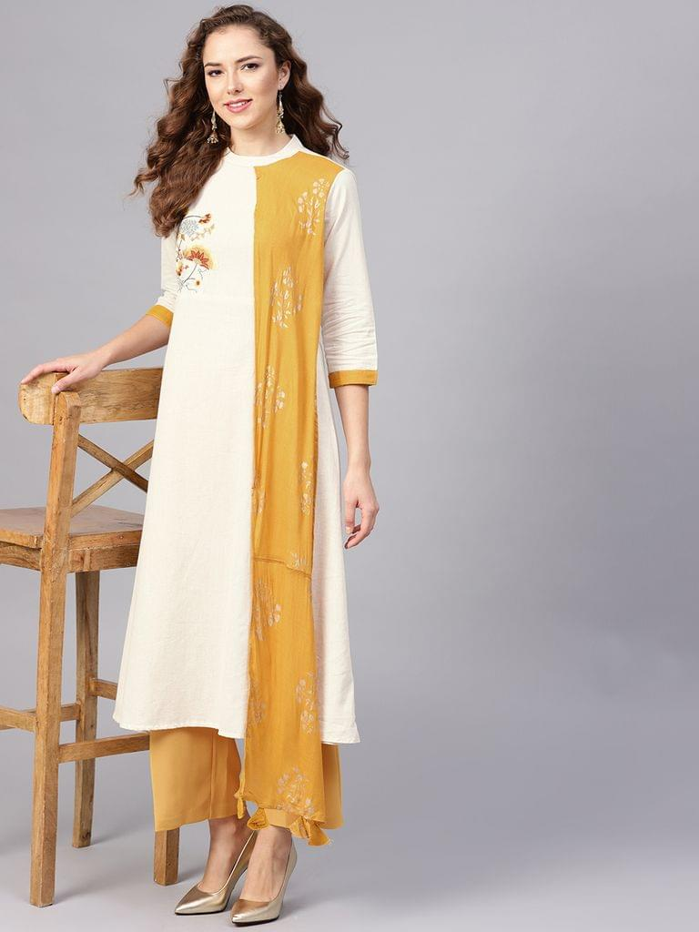 Yufta Women Off-White & Mustard Yellow Yoke Design A-Line Kurta