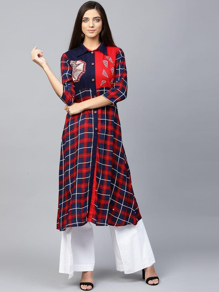 Yufta Women Navy Blue & Red Checked A-Line Kurta