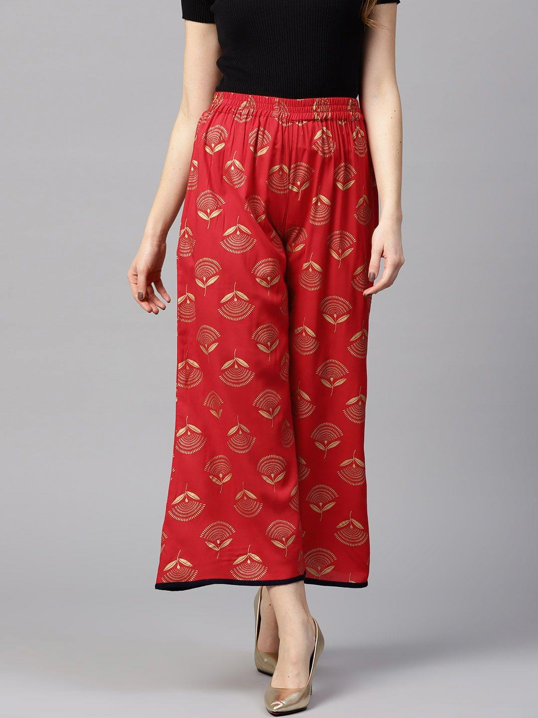 Yufta Women Red & Golden Printed Wide Leg Palazzos