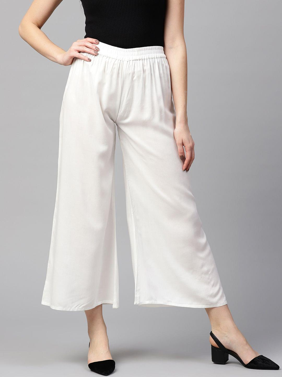 Yufta Women White Solid Wide Leg Palazzos