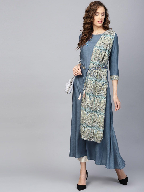 Yufta Women Blue Solid A-Line Kurta with Attached Dupatta