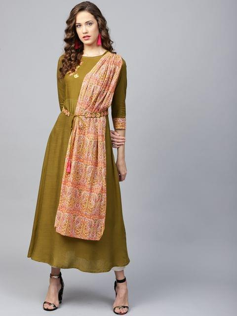 Yufta Women Olive Green Solid A-Line Kurta with Attached Dupatta