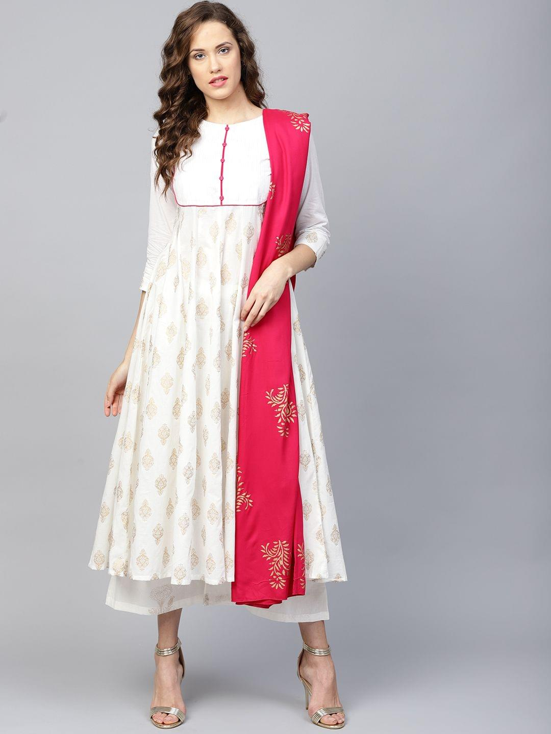 Yufta Women White & Pink Printed Kurta with Palazzos & Dupatta