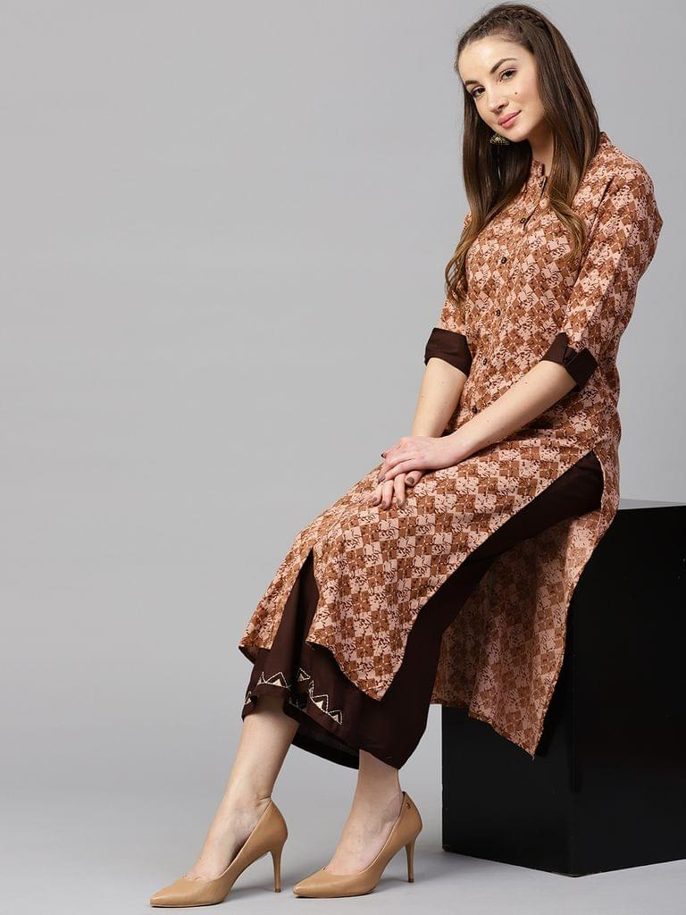 Yufta Women Brown Printed Kurta with Palazzos