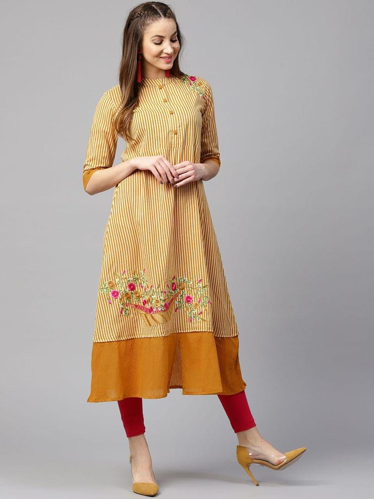 Yufta Women Mustard Yellow & White Striped A-Line Kurta