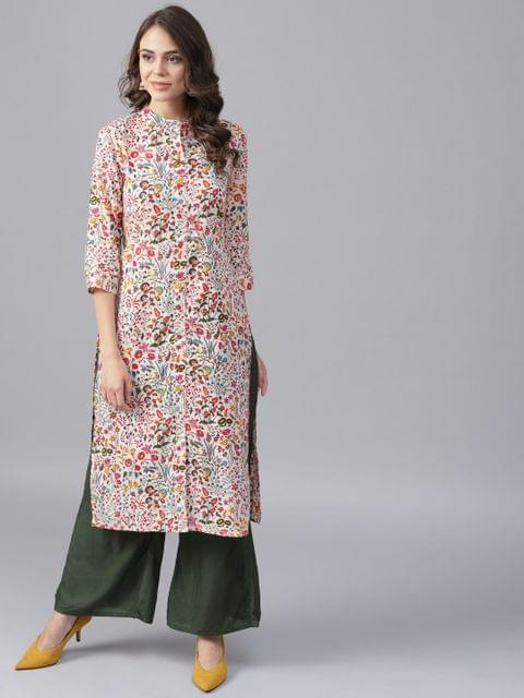 Yufta Women Off-White  Pink Printed Kurta with Palazzos