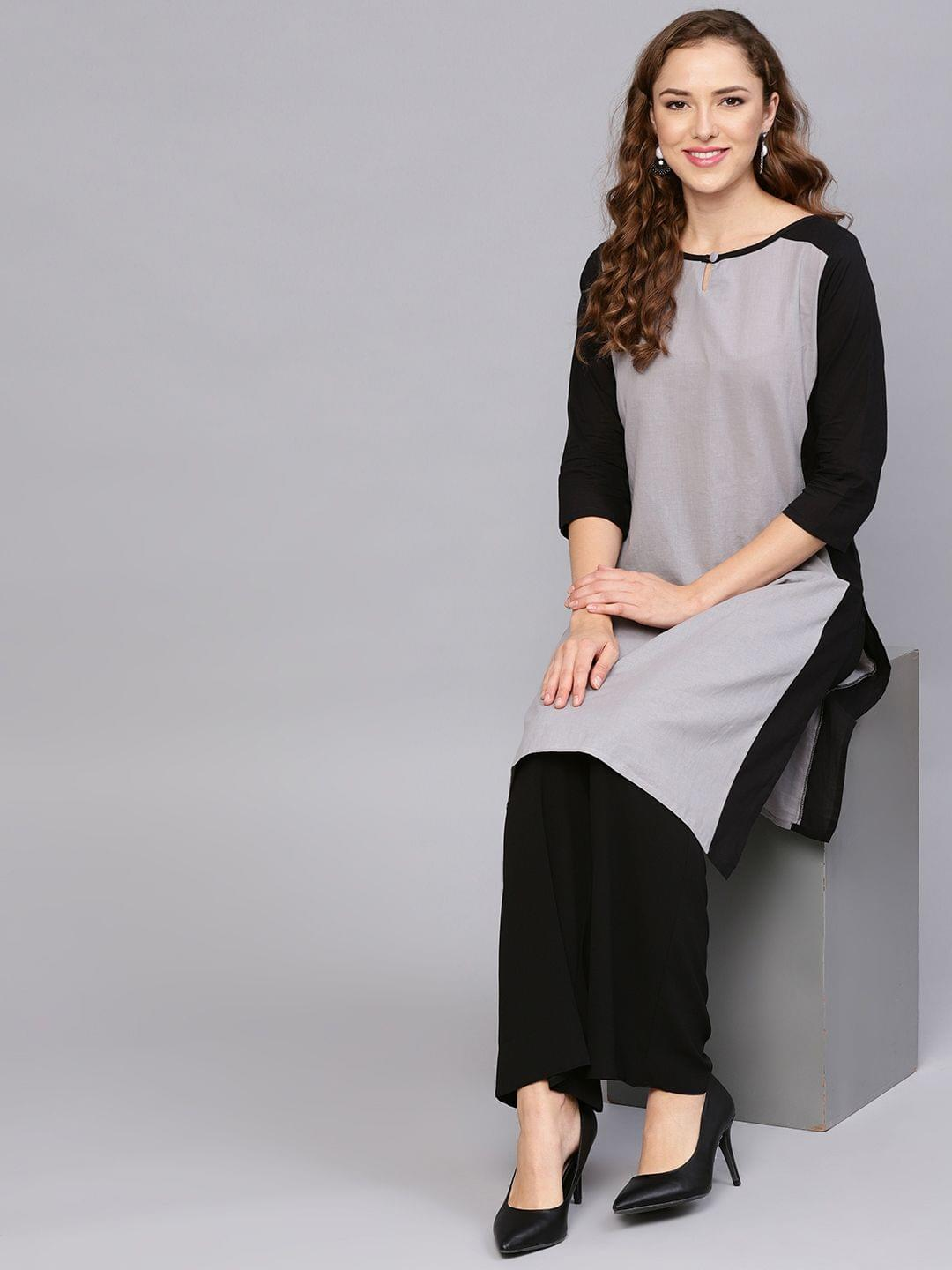 Yufta Women Grey & Black Colourblocked Straight Kurta