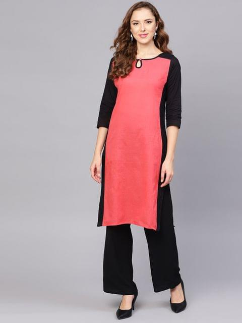 Yufta Women Coral Pink & Black Colourblocked Straight Kurta