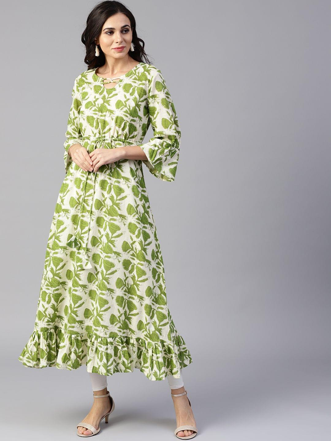 Yufta Women Green & Off-White Printed A-Line Kurta