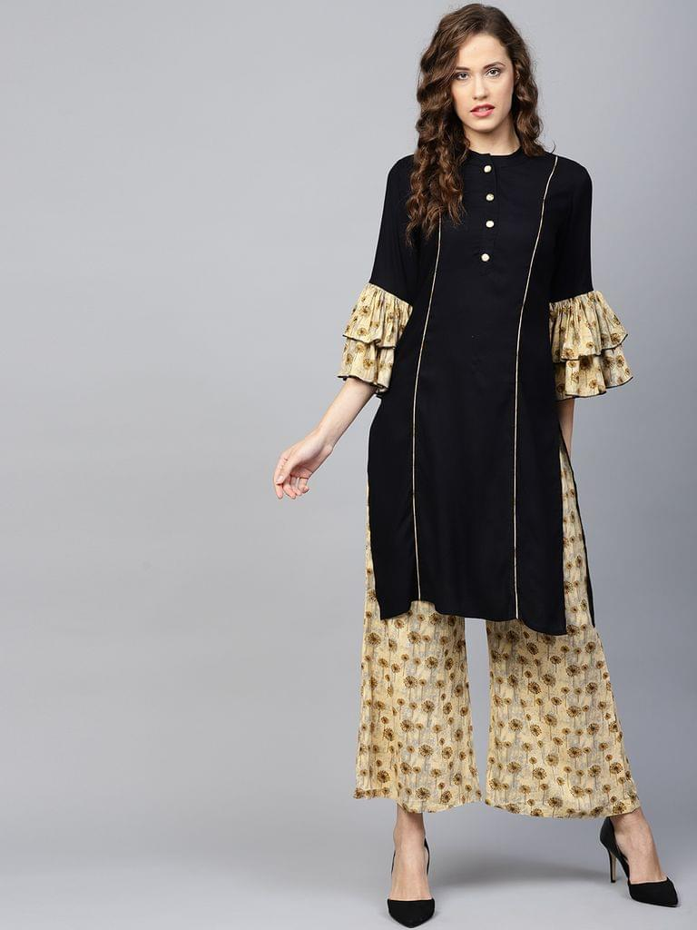 Yufta Women Black & Beige Solid Kurta with Palazzos