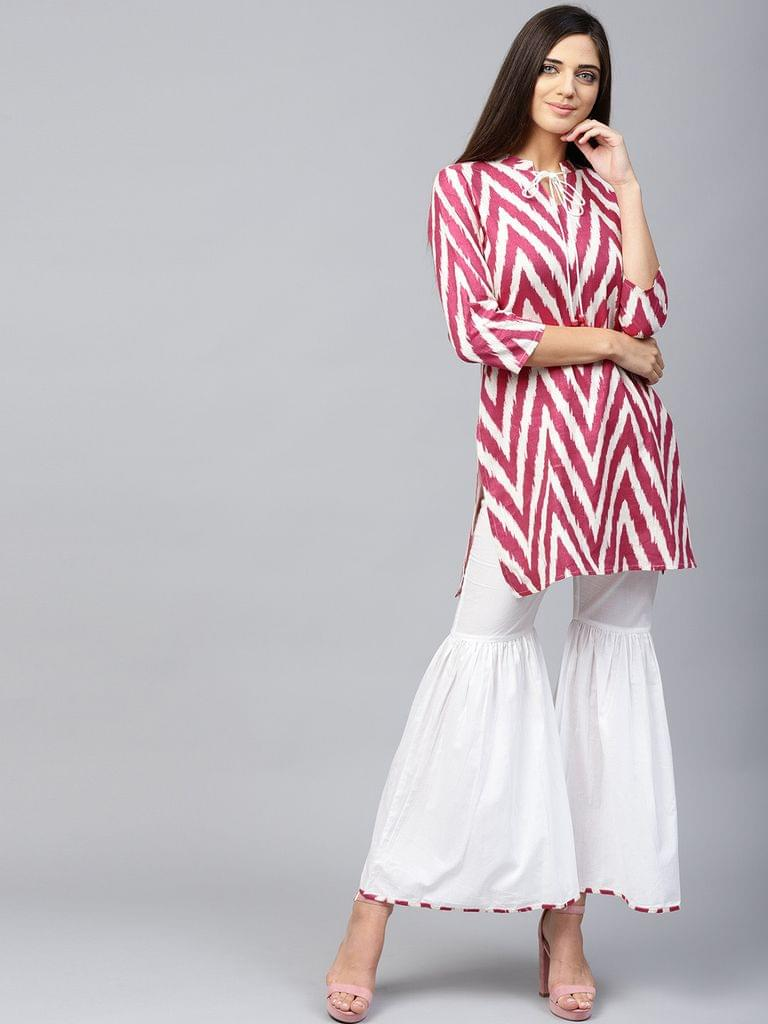 Yufta Women Pink & White Printed Kurta with Sharara