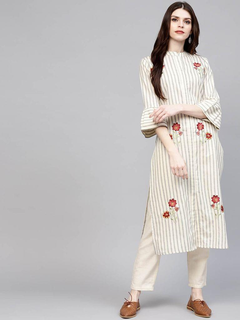 Yufta Women Off-White & Grey Striped Straight Kurta