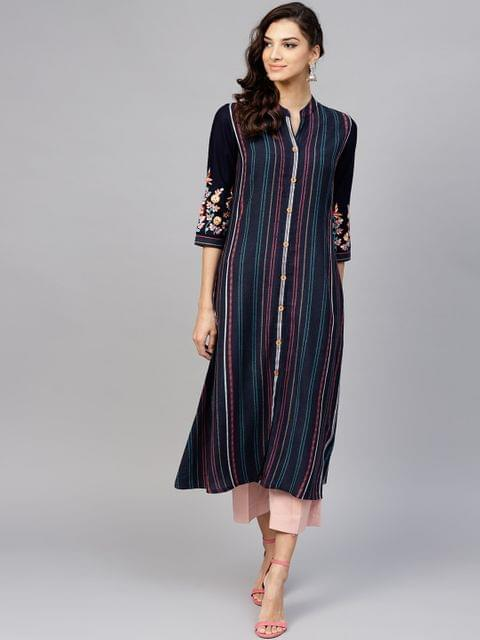 Yufta Women Navy Striped A-Line Kurta