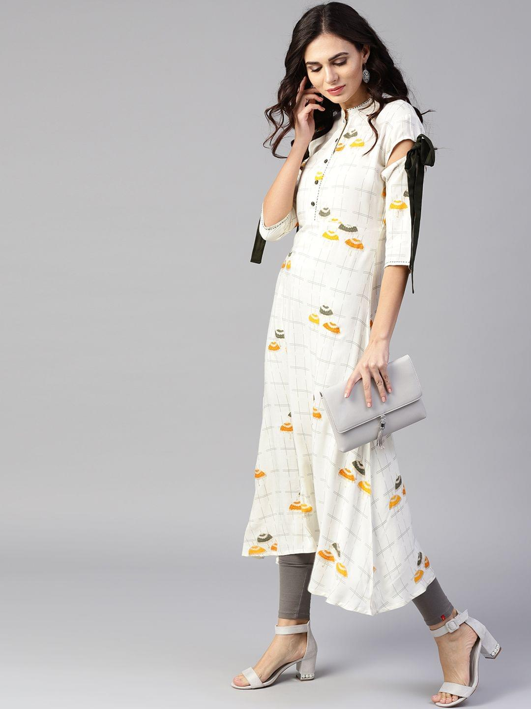 Yufta Women Off-White & Mustard Yellow Printed A-Line Kurta