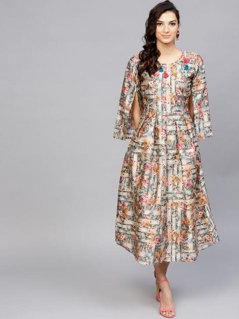 Yufta Women Grey & Pink Printed A-Line Dress