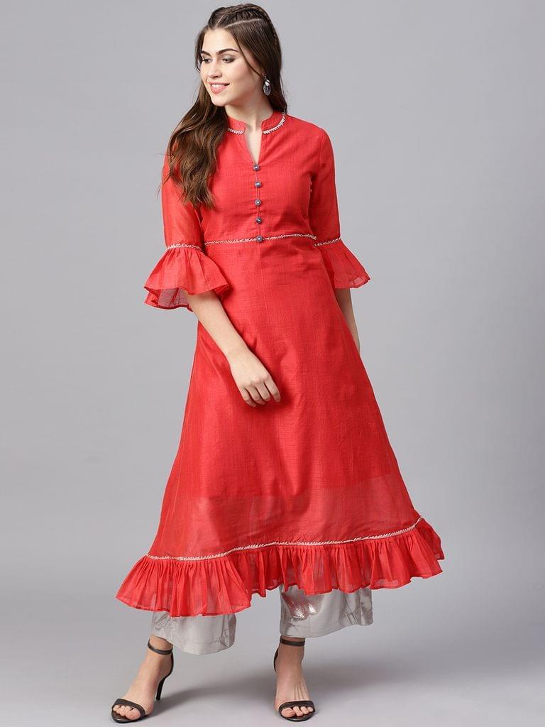 Yufta Women Coral Red Solid A-Line Kurta