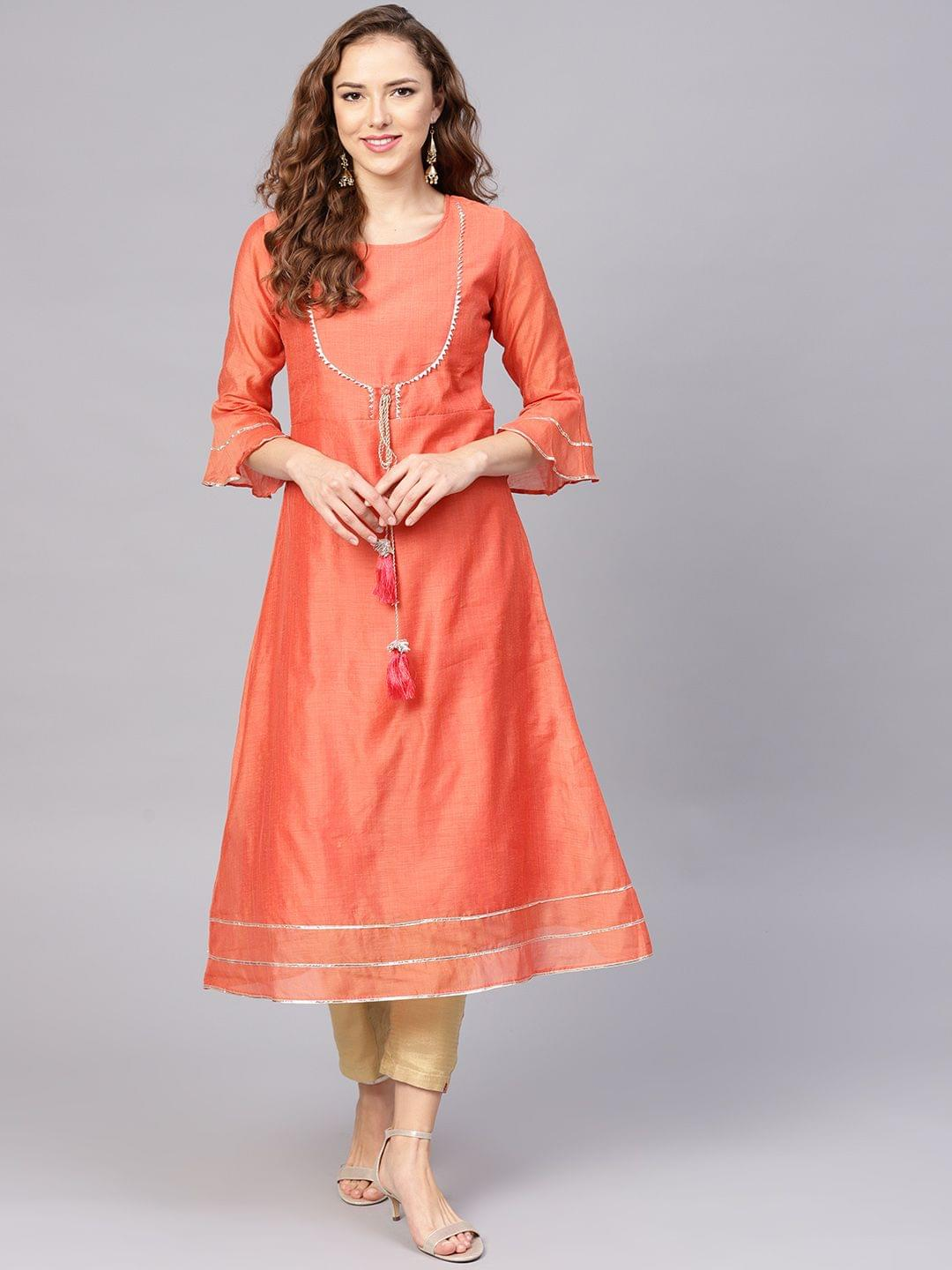 Yufta Women Peach-Coloured Solid A-Line Kurta
