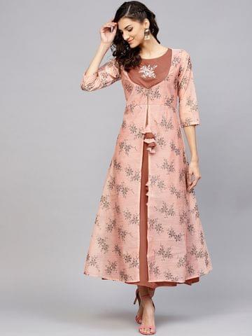 Yufta Women Peach-Coloured & Brown Printed Layered Maxi Dress