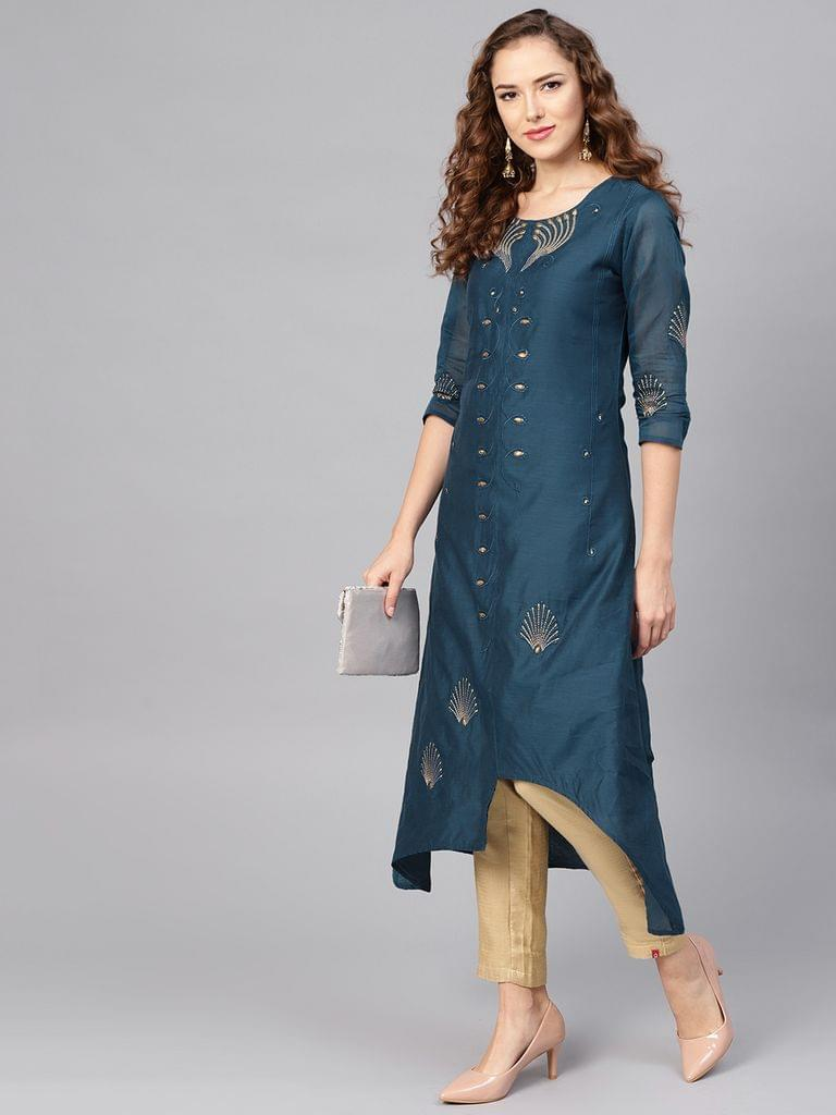 Yufta Women Teal Blue Embroidered A-Line Kurta