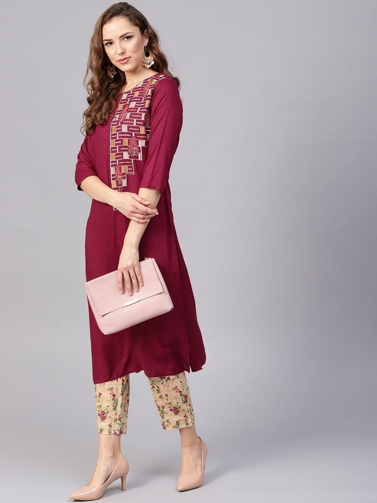 Yufta Women Burgundy & Beige Yoke Design Kurta with Trousers